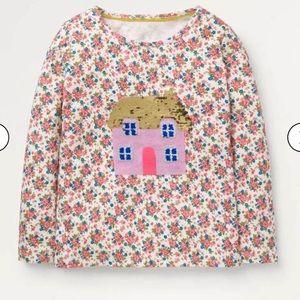 NWT Mini Boden Color Change Sequin T-Shirt 6-7Y